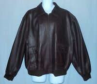 Authentic Coach Brown Leather Bomber Jacket Men's Size XL