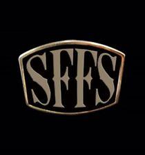 Solid Bronze SFFS Letter Biker Ring Blk Enamel Custom Sized TL-033b