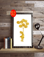 Banksy Balloon Girl   Gold Foil Print Vintage Foil Rose Gold Art