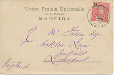FUNCHAL 1904 King Carlos I 25 R. pink / black as single postage on very fine pc