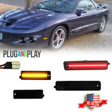 4pc Smoke Front Amber Rear Red Led Side Marker Lights For 98 02 Pontiac Firebird