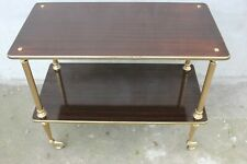Vintage Dessert Table or Bar Cart on Wheels French Brass Two-Tier serving Table