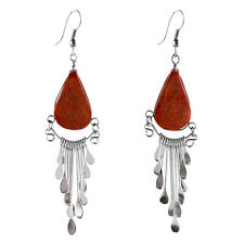 "#4103 Genuine Coral Peruvian Earrings Stone Drop Artisan Alpaca Silver 2"" Dangle"