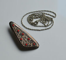 HANDMADE SIGNED ISRAEL SILVER 925 NECKLACE  PENDANT & BROOCH RED CORAL CABOCHON
