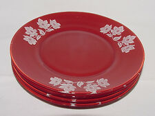 FOUR PERFECT Retro/Vintage Red & White GLASS LUNCHEON PLATES!!