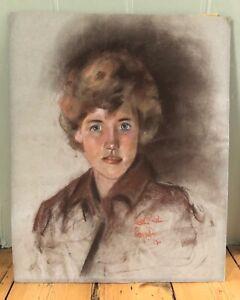 Vintage Chalk/ Pastel Portrait Of Lady Woman 1960s Mid Century Large Unframed