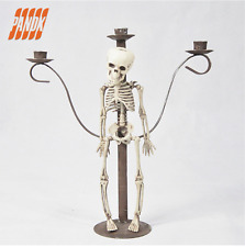 Gothic Skull Skeleton Halloween Punk Table Centrepiece Candle Stick Holder Metal