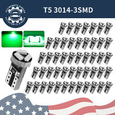 50x Vivid Green T5 2721 17 Wedge LED Instrument Panel Dash Light Bulbs 3014 SMD