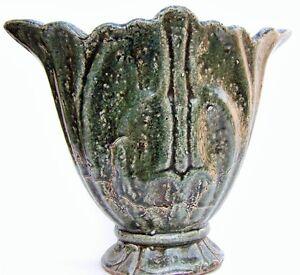 Rustic: Pottery Vase  Crackled : Distressed Dark Green Cut Flower Vase