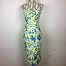 Vintage Elsie Eberly California 50s Floral Print Wiggle Dress Pin Up Size 10