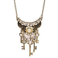 Vintage Bronze Love Heart Shape Key Pendants Charm Long Sweater Chain Necklace