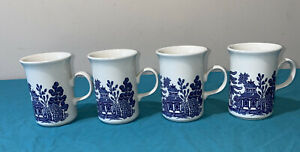 4 CHURCHILL Blue Willow Coffee Mug Vintage Made In England