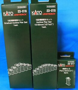 LOT of 3 - N - KATO UNITRACK 23-015, 23-016 & 23-017 Incline & Gradual Pier Sets