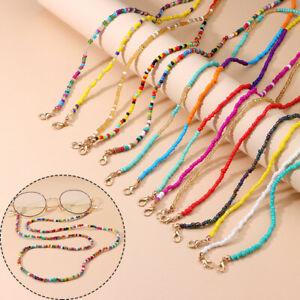 Women Multifunctional Colorful Rice Bead Glasses Chain Non-slip Glasses Holder