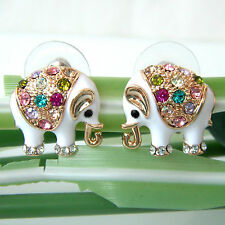 Navachi Elephant White Enamel 18K GP Colorful Crystal Earrings Ear Nail BH2663