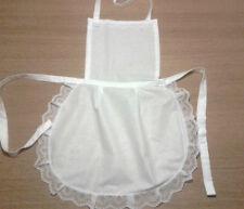 Femmes Blanc Complet Coton Apron Pinny Lace Victorian Maid fancydress Enterrement Vie Jeune Fille