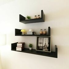 3 MDF Floating Cubes Wall Storage Book CD Display Shelves U-shaped Black