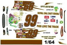 #99 Carl Edwards Muppets 2014 1/64th Ho Scale Slot Car Waterslide Decals