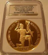 Panama 1975FM Gold 500 Balboas NGC PF-69UC Vasco Nunez De Balboa