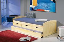 Bett Funktionsbett Tandembett 90 x 200 cm massiv natur lackiert Woody 148-00234