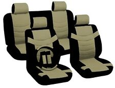 Two Tone PU Low Back Synthetic Leather Seat Covers Steering Wheel BLACK/TAN CS4