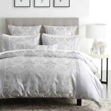 Bed Spread Logan & Mason Queen Size Jacquard Silver Lana Quilt Cover 3pc Set