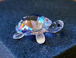 Swarovski Crystal Miniature Baby Turtle / Tortoise, w/ Frosted Legs, Swan Logo