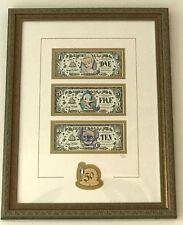 Disneyland 50th Anniversary Frame Dollar Set LE 100 1/5/10$  2 Digit SN A0000014