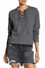 Mother - The Tie Up 'Easy' Sweatshirt, Corset Neck, Charcoal-Grey Sz M, New $158