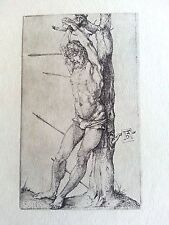 Durer woodcut 3.5x4.1 1500 plate signed B 55 Saint Sebsatian tied to a tree