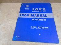 Ford Passenger Car Used  Genuine Shop Manual Supplement VP 1953 VP-CM72