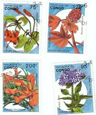 CONGO - Bustina 4 francobolli serie FIORI