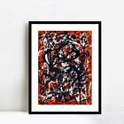 """Framed Art Free Form by Jackson Pollock 24""""x32"""" Black Frame with Mat and Glass"""