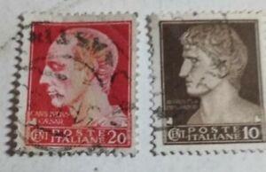 2 francobolli poste italiane 10-20 cent imperiali usati filigrana corona