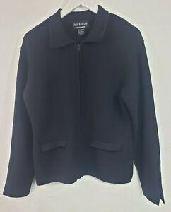 Don Rakow 100% Cashmere Cardigan Sweater Jacket Top Size Large Black Zip Up