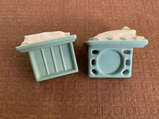 Vintage Wall Mount Soap Dish & Toothbrush Holder - Blue, MCM