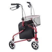 Folding 3 Wheel Rollator Tri Walker Walking Frame Mobility Aid Aluminium w/ Bag