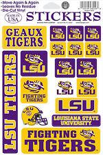 LSU Tigers Vinyl Die-Cut Sticker Decals - 18 per sheet