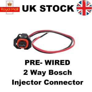2 Way Pin Pre-Wired Bosch Diesel Injector Connector Vauxhall, Renault, Peugeot