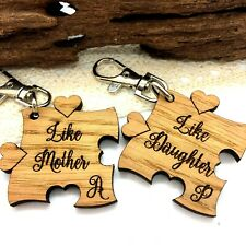 SET OF 2 x PERSONALISED LIKE MOTHER, LIKE DAUGHTER KEYRINGS MOTHERS DAY GIFT