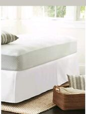 "Wrinkle-Resistant Bedskirt Threshold White Size FULL Cotton Poly Blend 15"" drop"