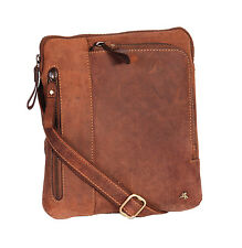 Tan Leather Crossbody Bag Vintage Distressed Messenger iPad Tablet Flight Bag