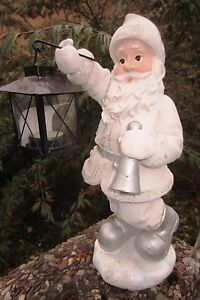 Weihnachtsmann mit Laterne Deko Nikolaus St. Claus Winter Weihnachtsmann 37 cm g