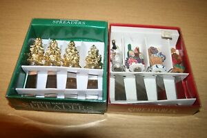 4 Christmas Tree & 4 Wine Gourmet Cheese/Butter Spreaders in Boxes