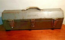Embossed Craftsman Vintage 6516 Hip Roof Tombstone Old Toolbox With Tray 1950's