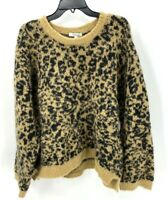 Madewell Womens Crew Neck Leopard Merino Wool Alpaca Sweater Size Medium NWT