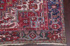 Antique Geometric Heriz Serapi Area Rug Hand-Knotted Living Room Carpet 8x11