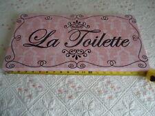 "VINTAGE FRENCH style Pink & Black  LA TOILETTE   Bathroom Sign 20"" x10""x 1 1/8"""