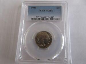 1936 , Buffalo Nickel , PCGS MS66