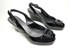 Clarks black patent leather wedge heel slingback shoes uk 4.5